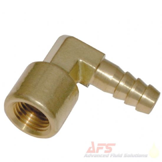 Brass BSP Fixed Female 90 Degree x Barbed Hose Tail Fittings